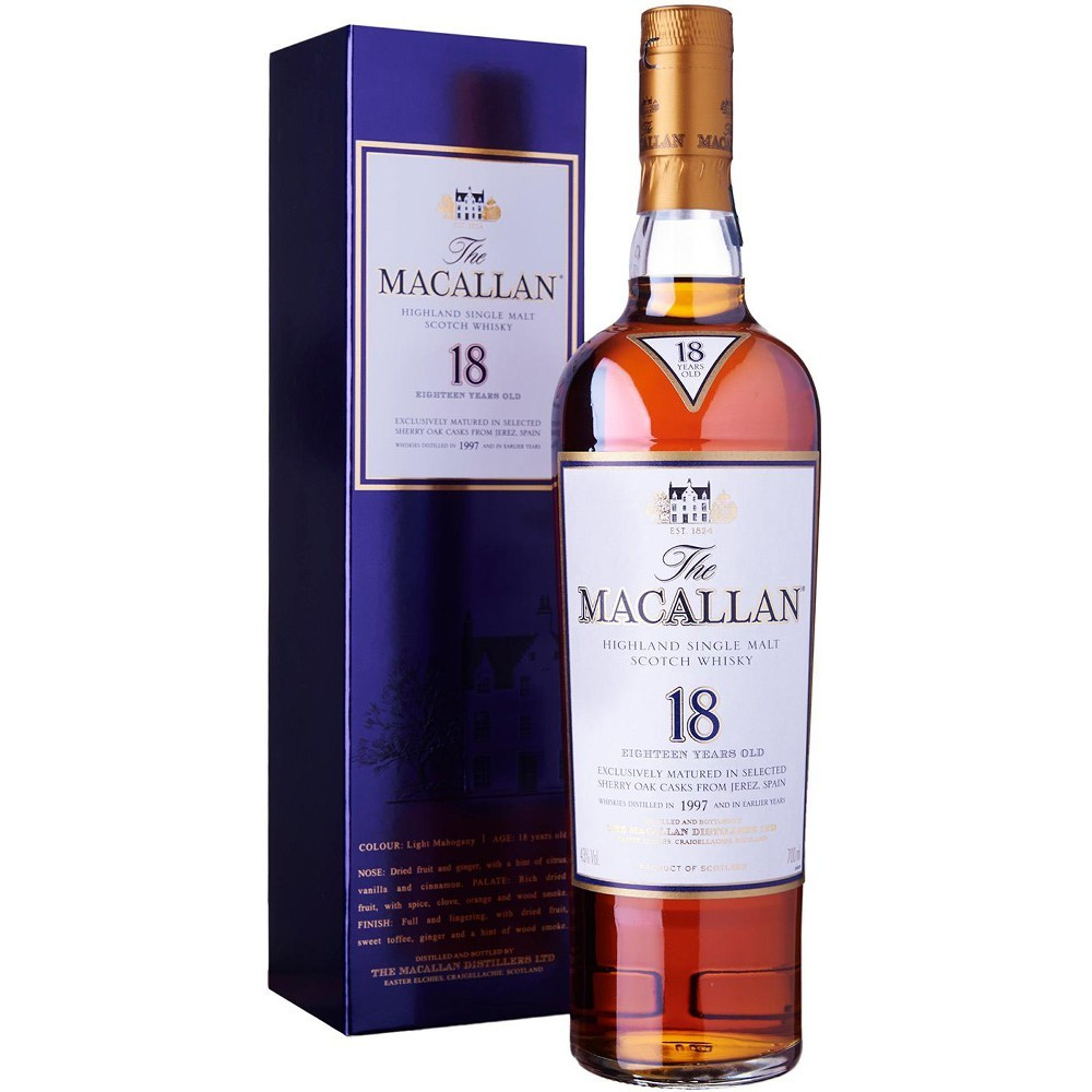 Macallan Whisky 18 �r Sherry Oak 43% 0,7 Ltr.